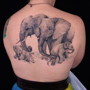 Black and Grey Realism tattoo by Kari Barba #KariBarba #blackandgrey #realism #realistic #Illustrativerealism #elephant #animals #babyanimal