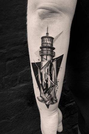 #tattoodesign #tattooflash #tattoodo #tattoos #blackwork #tattooidea #detailed #detail #singleneedle #water #lighthouse #contemporary #portrait #blackansgrey #blackwork #dotwork #fractured #black