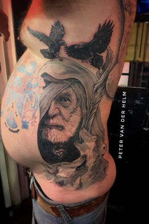 Under construction still but about 12 hits into this Odin tattoo with 2 raven, a staff and accompanied by 2 wolves.