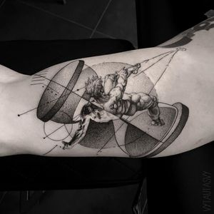 #tattoodesign #tattooflash #tattoodo #tattoos #blackwork #tattooidea #detailed #detail #singleneedle #icarus #sculpture #contemporary #portrait #blackansgrey #blackwork #dotwork #time #geometry #hourglass #falling #abstract #negative #black