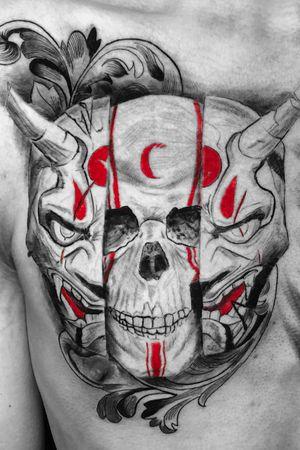 Instagram: @rusty_hst #skull and #onimask tattoo  #blackandgrey #realism
