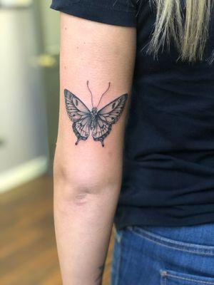 Fineline blackwork butterfly #fineline #butterflytattoo #blackwork