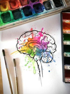 Design Taken @guilleryan.arttattoo guilleryanarttattoo@gmail.com #creative #brain #sketchtattoo #watercolordesigns #handmadeart #animetattoos #cartoontattoos #watercolortattoo #geektattoos #frikitattoos #gamer #sketchtattoo #watercolor