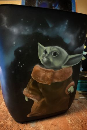 Baby Yoda up for adoption - Airbrushed trash can - 707-666-0995 $55
