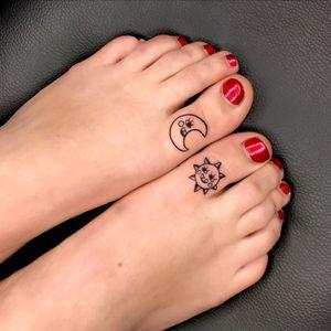 Sun and moon toe tattoo