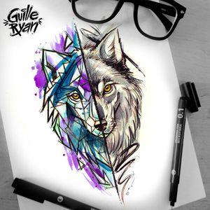 Design Taken @guilleryan.arttattoo guilleryanarttattoo@gmail.com #wolf #wolftattoo #animaltattoos #watercolordesigns #handmadeart #animetattoos #cartoontattoos #watercolortattoo #geektattoos #frikitattoos #gamer #sketchtattoo #watercolor