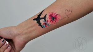 #tattoo #tatt #tattooed #victoriadenske #tattooart #tattooedukraine #kievtattoo #kyivtattoo #ink #inked #tattoodo #wctattoos #bodyart #watercolortattoo #colortattoo #tattoodo #beautiful #instatattoo #linework #inkedup #tattooartist #blacktattoo #sketchtattoo #graphictattoo #watercolortattoo #lines #plane #sakura #flowers #travel #heart #blossom
