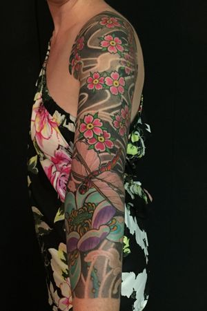 Completed #japanese sleeve. #dragonfly #lotus