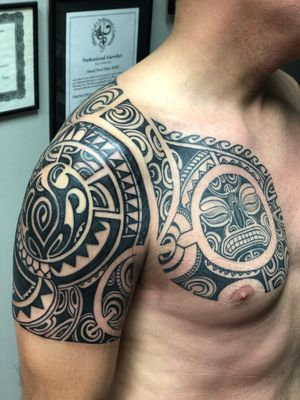 Finished this polymix tattoo on Mr Fabio.The chestpiece and shoulder piece were done earlier n the half sleeve was a fixer upper .Thanks buddy! #polynesiantattoo #polynesiantattoos #tribal #tribaltattoo #neotribal #tattoodo #inkstinctsubmission #inkedmag #inkedmagazine #inkspiration #tattoolove #tattooculture #skinartmag #skinartmagazine #skinart #tribaltataucollective #maoritattoo #samoantattoo