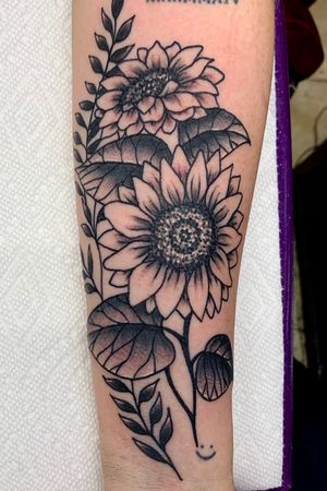Black and grey sunflowers