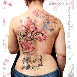 We Built Our Own World ➡️Contact: deexentattooing@gmail.com 🌸Merci Leslie! . . . #sakuraflower #tattooaddict #cherryflowers #miyazaki_colors #miyazaki #tattoo #cherrytree #sakura🌸 #kodama #tattooart #cerisier #tatouages #tatouagefemme #miyazakitattoo #sakuratattoo #deexen #watercolortattoo #colorstattoo