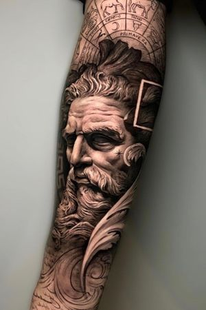 Poseidon of my new collection in inner forearm. Lights and Shadows.