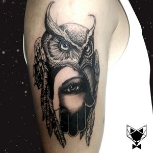 Customized owl with hamsa