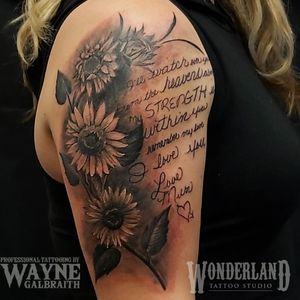 Cool tattoo I had the honor of doing today, the writing is in her mother's handwriting taken from letters and poems. #wonderlandtattoo #wonderlandkitchener #sunflowers #sunflowertattoo #floraltattoo #ontariotattoos #canadiantattooartist www.wonderlandstudioskw.com
