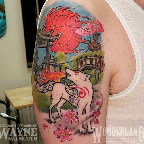 Got a healed shot of this okami inspired tattoo! #okami #okamitattoo #okamiamaterasu #wonderlandkitchener #colortattoo #ontariotattoos #canadiantattooartist #kwawesome  www.wonderlandstudioskw.com