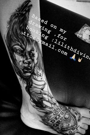 #DarkTattoos #DarkArt #horrortattoo #horrorart #lilithdivinetattoo #lilithdivineartist #madnesscircus #blackandgreytattoos #mydrawing #artist