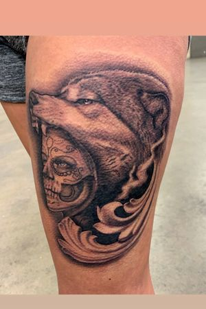 Done at the Villan arts Dallas Tattoo expo.. Day of the dead inspired tattoo with a wolf headdress..
