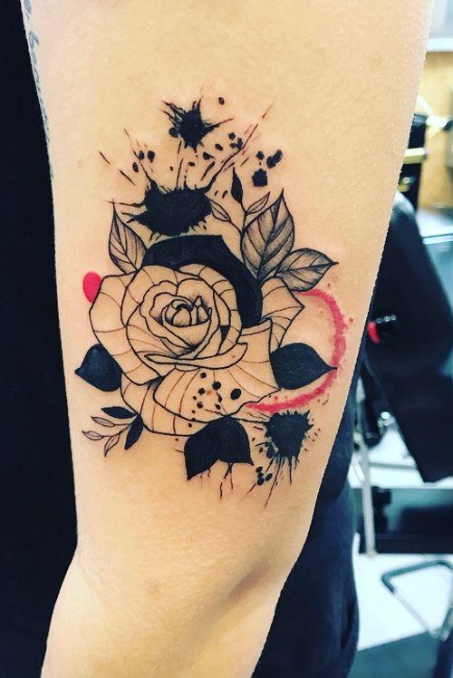 #inksplatter #inksplattertattoo #floraltattoo #rosetattoo #blackwork