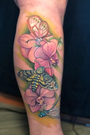 Glasswing butterfly, deadhead moth and dragonfly on orchids. A tribute tattoo for my client who's dad was a curator for butterfly pavillions.