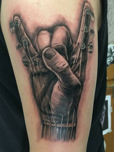 Don't have a better pic of when it's healed sorry. #music #metal #guitar #musictattoo #musician #guitarist