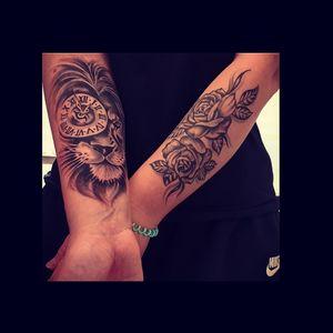 #tattoolover #rosetattoo #liontattoo