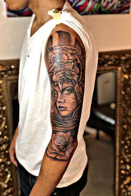 Tiger y mujer tattoo