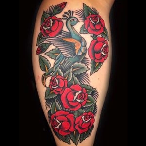 Traditional Peacock & Roses made by Rodrigo Canteras #peacocktattoo #peacock #roses #rosetattoo #traditionaltattoo