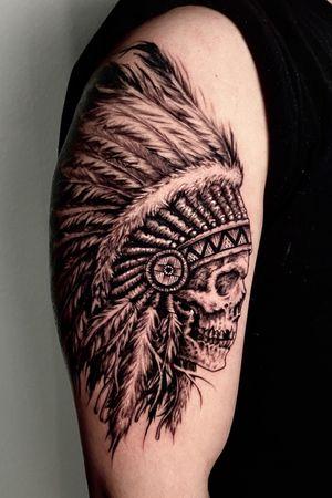Indian skull tattoo done by Kyle Devries. Follow me on Instagram for more work. @kyledevriesink