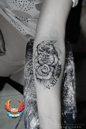 Scars Cover up with new Roses and Clock,Romans Numerals Tattoo Design. Rose Tattoo Represents everlasting love. And the clock is pointing at 10:15 and also 7:50. Shown as there child's birth timings. And the Roman numeral date (5-12-99) is tha date of Marriage. #3dtattoo #rosetattoo #romanstattoo #numerals #chainofbeads #beads #clock #shading #tattoo #ink #black&grey #numerictattoo #scarscoverup