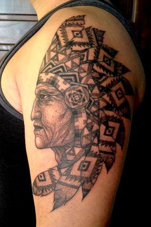 Native chief with headdress