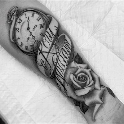 #clock #rose #script #lettering #realism #blackandgray