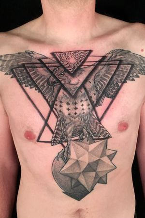 Geometric with a red tail hawk