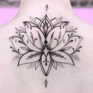 Tattoo by Rachel aka stickswell #rachel #stickswell #lotus #backtattoo #ornamental #floral #mandala