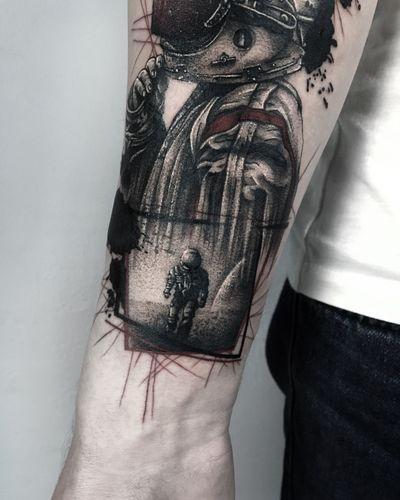 #graphic #graphictattoo #redink #worldfamousink #whipshading #3rl #tattooartist #tattooart #originaldesign #trashpolka #geometric #ink #inked #tattooed #horse #pegasus #tattooukraine #tattooing #cosmos #astronaut