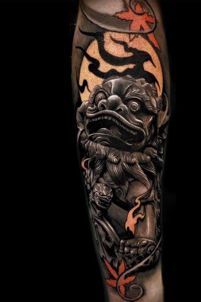 Foo dog tattoo by Andres Makishi #AndresMakishi #foodog #shishi #blackandgrey #japanese