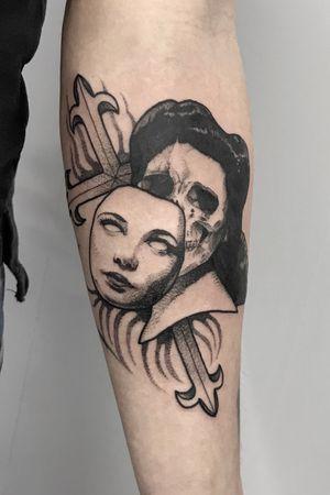 Memento Mori #tattoodo #blackwork #dotwork #blkttt #portraittattoo