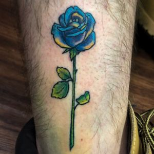 My rework of an apprentice tattoo I did, Color Neo-Traditional Rose.