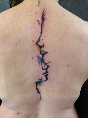 Watercolour sketctched linework tattoo 👌🏻 #watercolortattoos #LineworkTattoos #lineworktattoo #backtattoo #backpiece