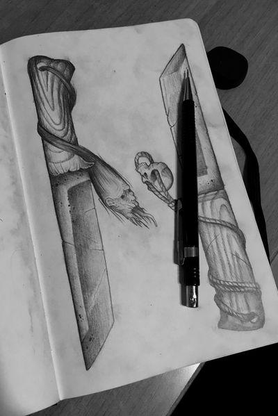 Design. #knife #knifetattoo #dotwork #darkart #darktattoo #darktattoos #horror #vladivostok #weapon #weapontattoo