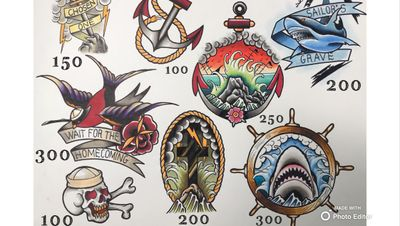 #sailor #sword #swallow #skull #shark #anchor #wheel #traditional #flashes #cross