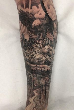 Wrapped up this leg sleeve with this scenic eagle look. Still got openings for February and March is open. Who want to get it? #eagletattoo #scenerytattoo #peaces #blackandgrey #bng #guyswithtattoos #girlswithtattoos #inked #inkedlife #tatuaje #blackwork #legsleeve #naturetattoo #blessed #oc #cypress #longbeach #skanvas #california