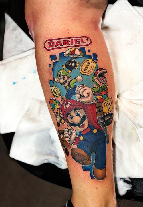 Mario bros tattoo de autismo