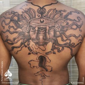 """""""This tattoo is an impression that expresses a great depth of the mind. This design is an imitation of a person who is aware of his surrounding reality. The three faced woman is an illusion of a beholder who is moving her head from left to right to be aware of what's happening in the surrounding. She is hanging her tongue around her neck because she knows that the tongue which actually symbolises the speech of a person is the most powerful weapon in today's world and with great power, comes great responsibilities. It can inspire, spread joy and express empathy. But it can also destroy and demean someone. Hence, the hanging tongue symbolises that there are limitations to its usage thus the greatest powerful human weapon should be used wisely and tactfully."""" done by @vinayak_b.e.a.r.d.e.d at @acetattooz with @kingstattoosupply #blackandgreytattoo #backtattoo #fullbacktattoo #customizedtattoo #customart #facetattoo #power #indiantattooartist #acetattoozindia #acetattoozcolaba #ac"""