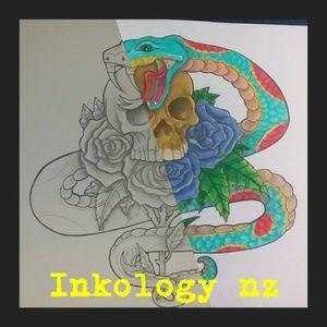 Design by sarah inkology nz #ink #snake #skull #rose