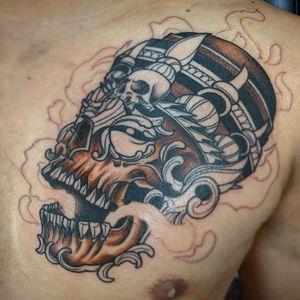 WIP #skulltattoo #skull #shaman #shamantattoo #neotraditionaltattoo #neotraditional #dallastattooartist #dallastattooer #DFWtattoos