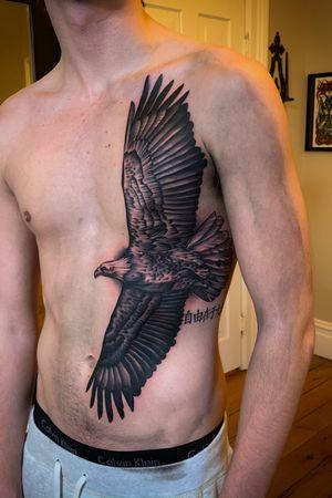 Tattoo by Mark Clifford. #eagletattoo #blackandgrey