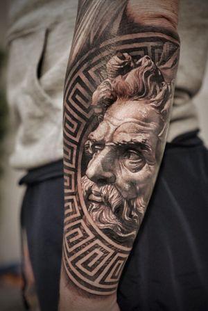 Tattoo by Josh Lin #JoshLin #sculpture #geometric #portrait #blackandgrey #arm