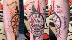 Trash polka style tattoo, compass and clock #trashpolkatattoo #amandasprytattooist