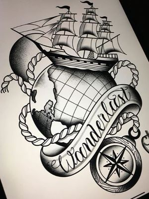 Wanderlust! #blacktattoo #blackandgray #traditional #tattoo #tattoodo #traditionaltattoo #flash #flashtattoo