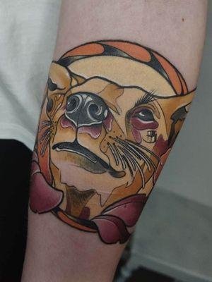 Memory for her dog 🔥#tondriktattoo #tattoodo #neotraditionaltattoos